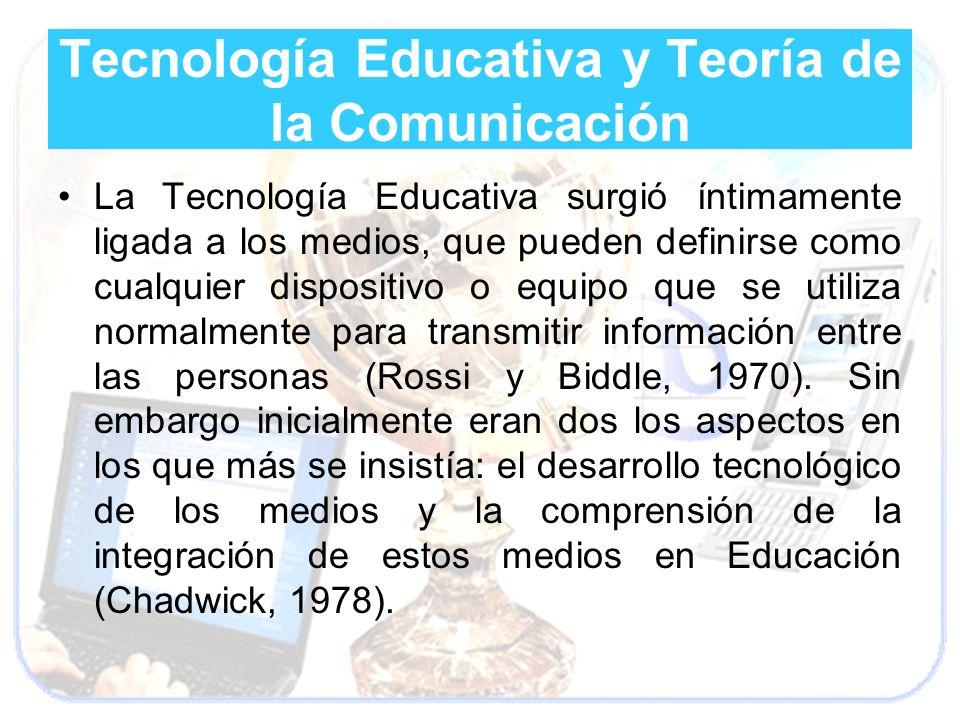 Tecnología Educativa y Teoría de la Comunicación La Tecnología Educativa surgió íntimamente ligada a los medios, que pueden definirse como cualquier d