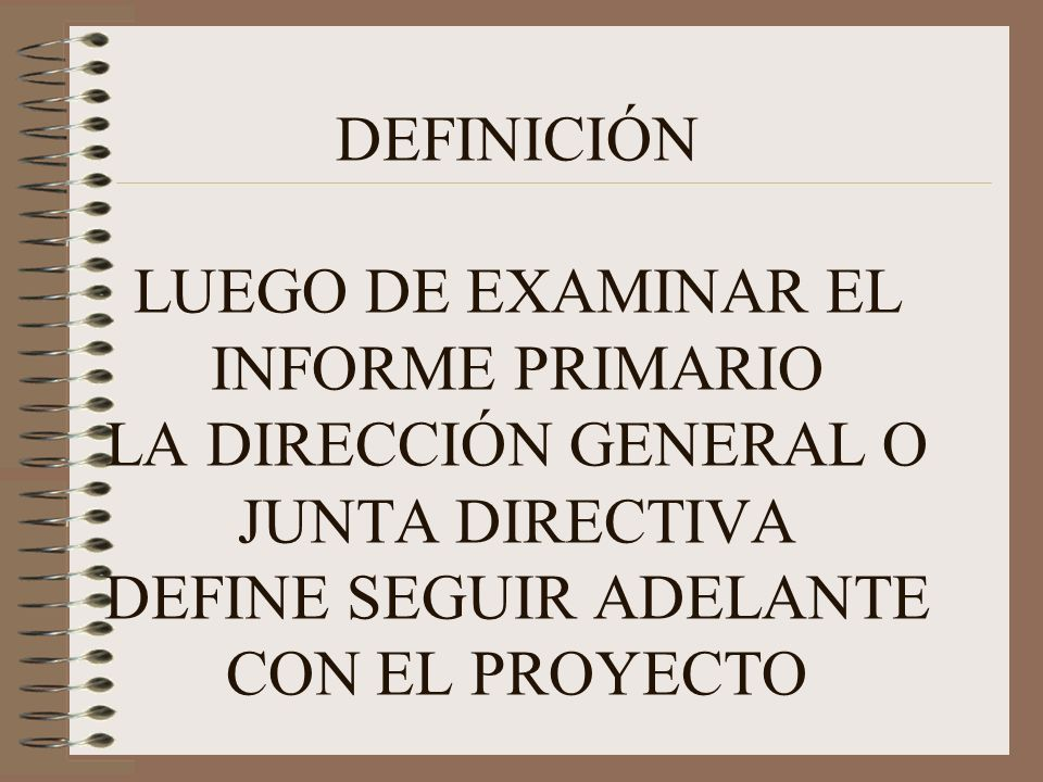 DEFINICIÓN LUEGO DE EXAMINAR EL INFORME PRIMARIO LA DIRECCIÓN GENERAL O JUNTA DIRECTIVA DEFINE SEGUIR ADELANTE CON EL PROYECTO