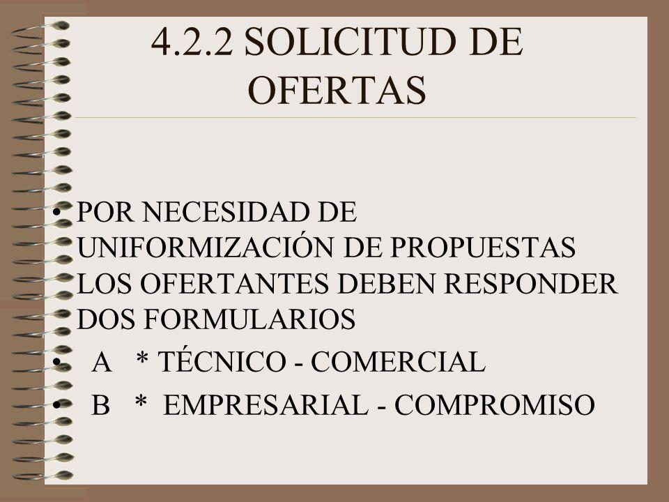 4.2.2 SOLICITUD DE OFERTAS POR NECESIDAD DE UNIFORMIZACIÓN DE PROPUESTAS LOS OFERTANTES DEBEN RESPONDER DOS FORMULARIOS A * TÉCNICO - COMERCIAL B * EMPRESARIAL - COMPROMISO