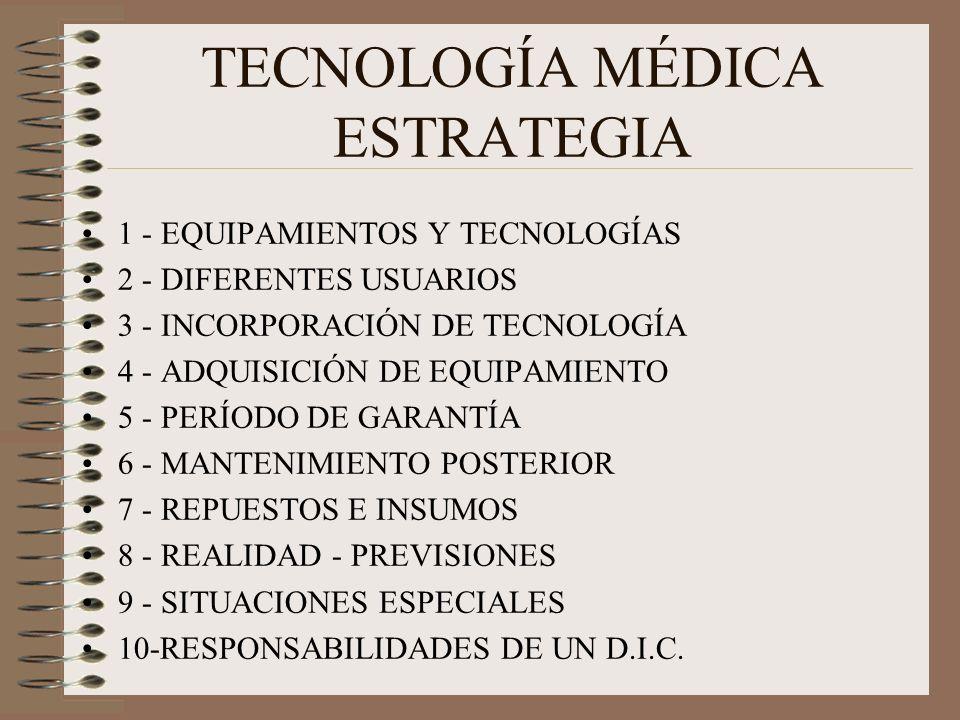 TECNOLOGÍA MÉDICA ESTRATEGIA 1 - EQUIPAMIENTOS Y TECNOLOGÍAS 2 - DIFERENTES USUARIOS 3 - INCORPORACIÓN DE TECNOLOGÍA 4 - ADQUISICIÓN DE EQUIPAMIENTO 5 - PERÍODO DE GARANTÍA 6 - MANTENIMIENTO POSTERIOR 7 - REPUESTOS E INSUMOS 8 - REALIDAD - PREVISIONES 9 - SITUACIONES ESPECIALES 10-RESPONSABILIDADES DE UN D.I.C.