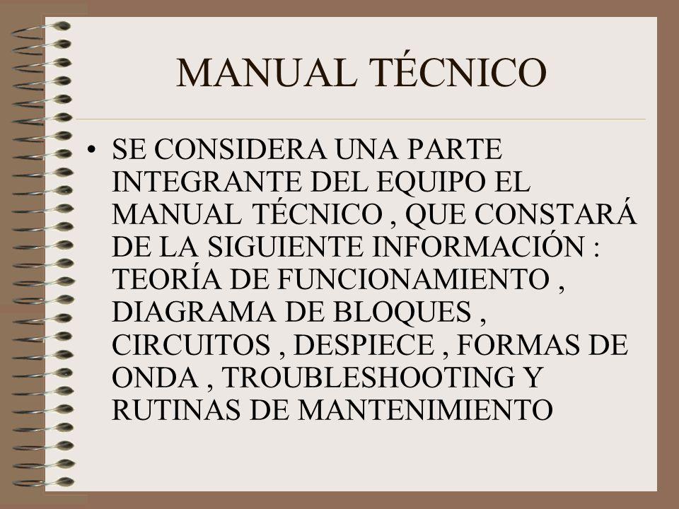 MANUAL TÉCNICO SE CONSIDERA UNA PARTE INTEGRANTE DEL EQUIPO EL MANUAL TÉCNICO, QUE CONSTARÁ DE LA SIGUIENTE INFORMACIÓN : TEORÍA DE FUNCIONAMIENTO, DIAGRAMA DE BLOQUES, CIRCUITOS, DESPIECE, FORMAS DE ONDA, TROUBLESHOOTING Y RUTINAS DE MANTENIMIENTO