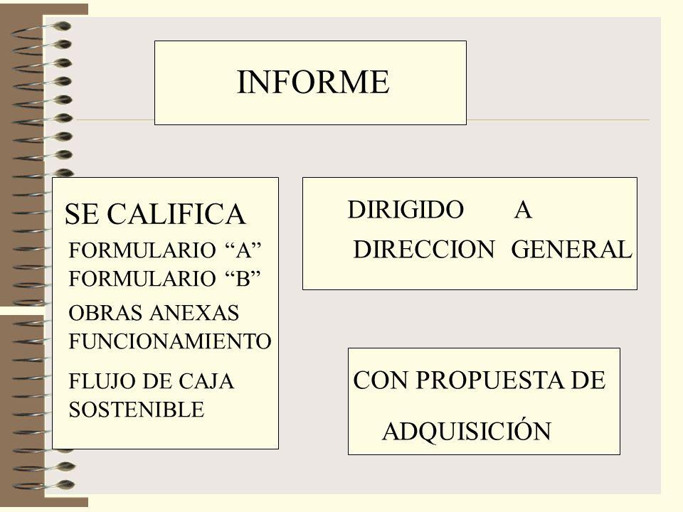 INFORME SE CALIFICA FORMULARIO A FORMULARIO B OBRAS ANEXAS FUNCIONAMIENTO FLUJO DE CAJA SOSTENIBLE DIRIGIDO A DIRECCION GENERAL CON PROPUESTA DE ADQUISICIÓN