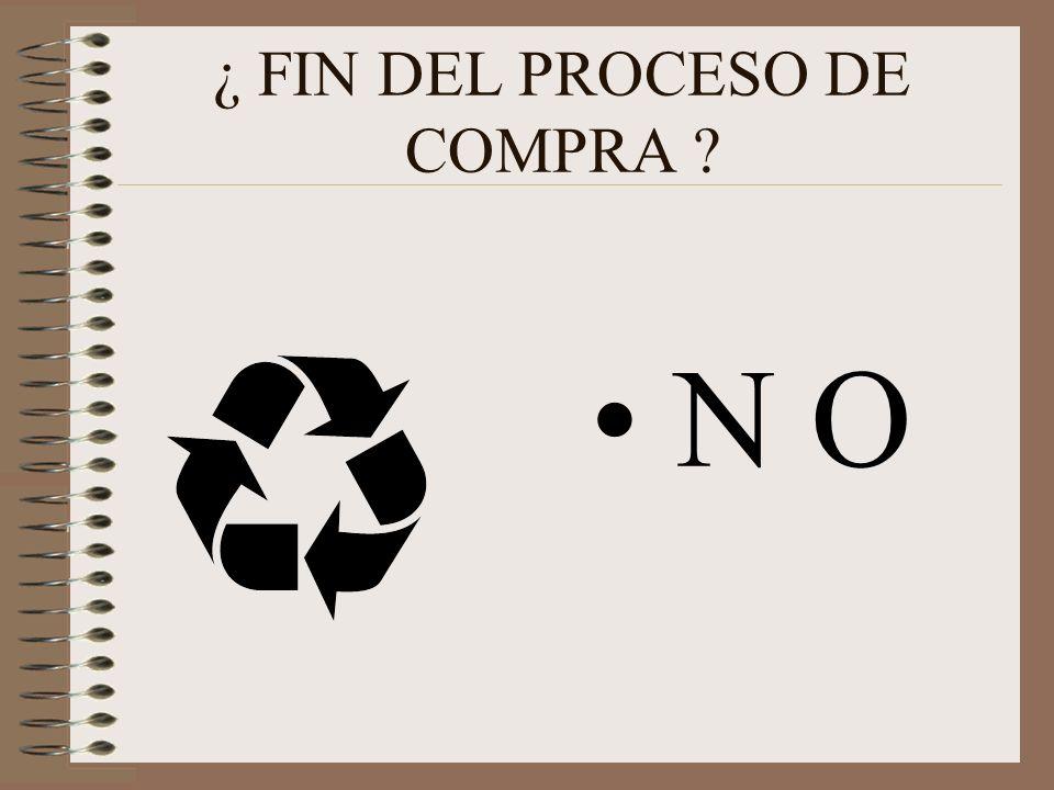 ¿ FIN DEL PROCESO DE COMPRA ? N O