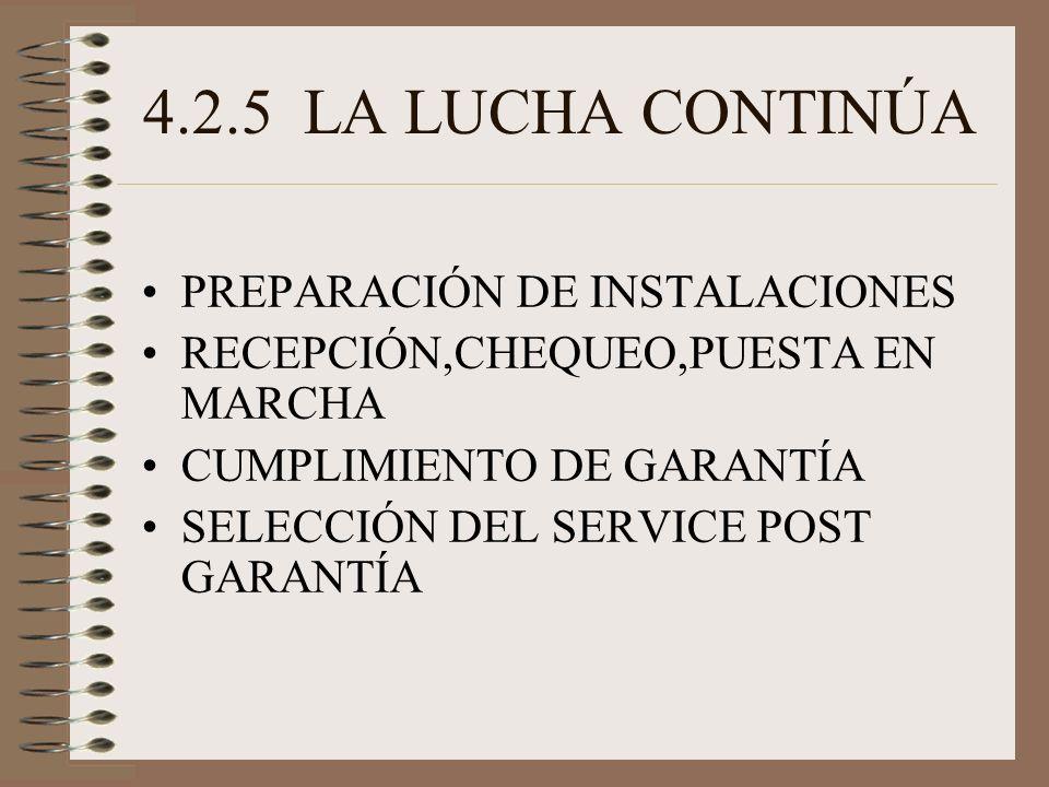 4.2.5 LA LUCHA CONTINÚA PREPARACIÓN DE INSTALACIONES RECEPCIÓN,CHEQUEO,PUESTA EN MARCHA CUMPLIMIENTO DE GARANTÍA SELECCIÓN DEL SERVICE POST GARANTÍA