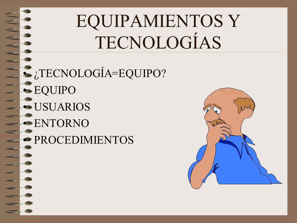 EQUIPAMIENTOS Y TECNOLOGÍAS ¿TECNOLOGÍA=EQUIPO? EQUIPO USUARIOS ENTORNO PROCEDIMIENTOS