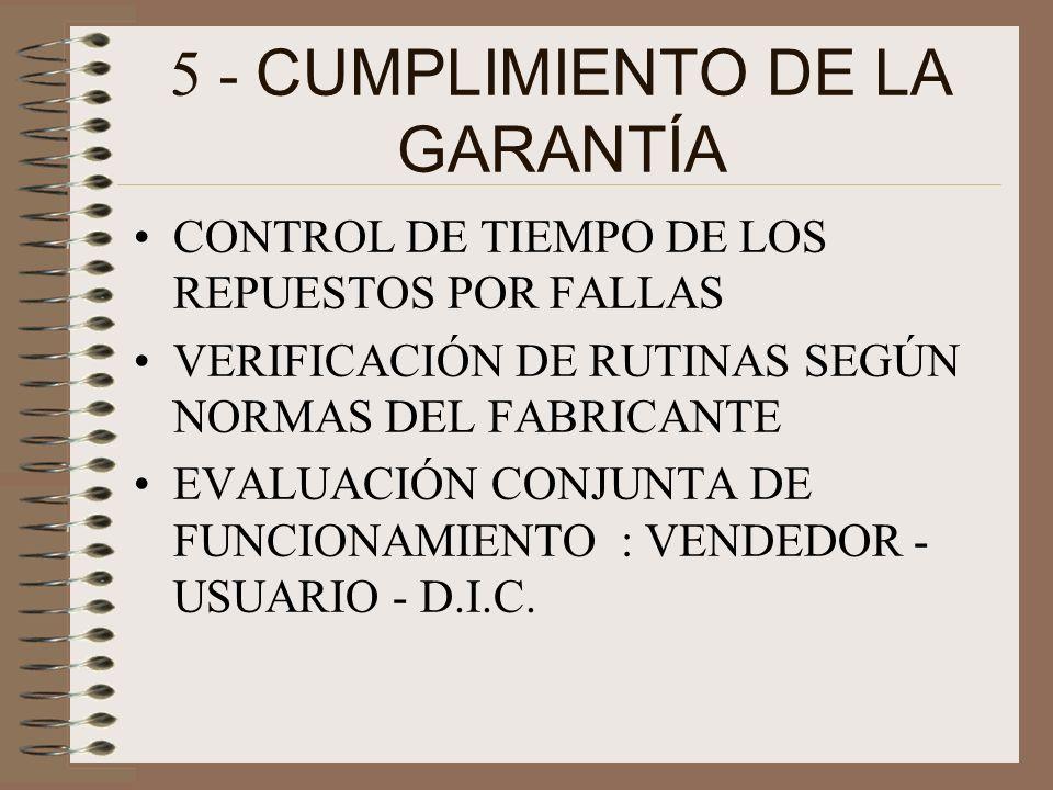 5 - CUMPLIMIENTO DE LA GARANTÍA CONTROL DE TIEMPO DE LOS REPUESTOS POR FALLAS VERIFICACIÓN DE RUTINAS SEGÚN NORMAS DEL FABRICANTE EVALUACIÓN CONJUNTA DE FUNCIONAMIENTO : VENDEDOR - USUARIO - D.I.C.