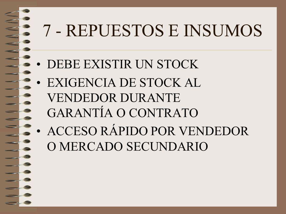 7 - REPUESTOS E INSUMOS DEBE EXISTIR UN STOCK EXIGENCIA DE STOCK AL VENDEDOR DURANTE GARANTÍA O CONTRATO ACCESO RÁPIDO POR VENDEDOR O MERCADO SECUNDARIO