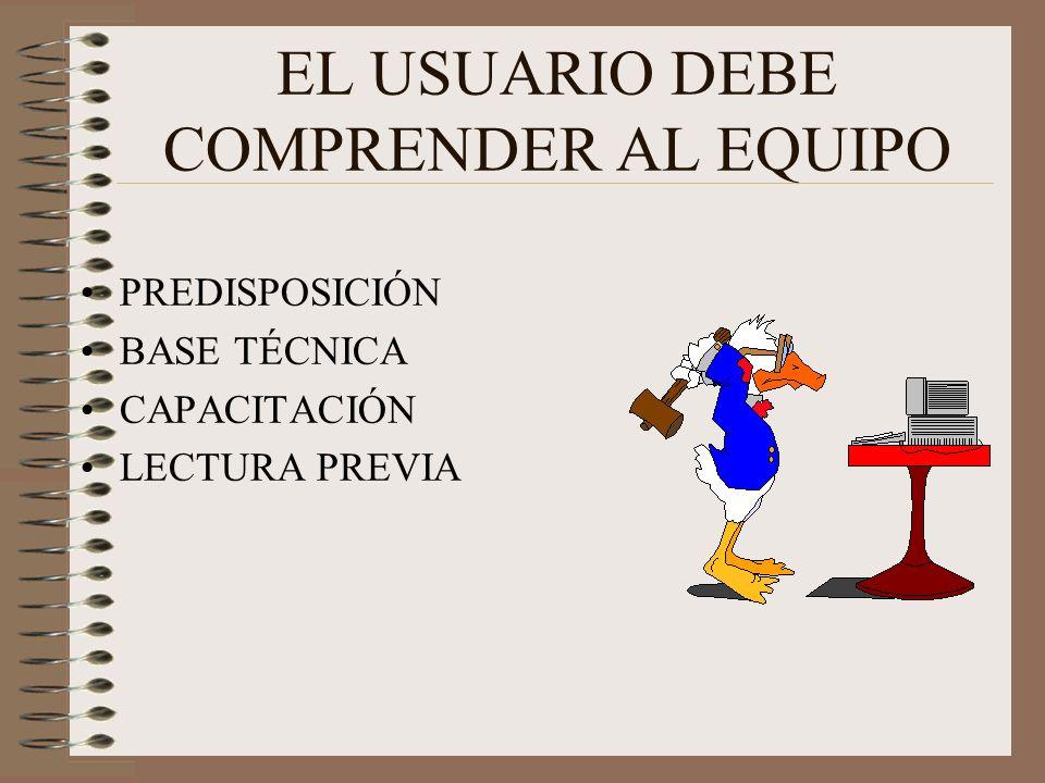 EL USUARIO DEBE COMPRENDER AL EQUIPO PREDISPOSICIÓN BASE TÉCNICA CAPACITACIÓN LECTURA PREVIA