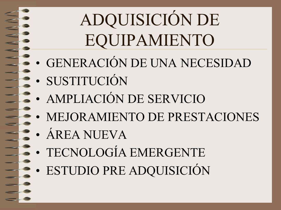 ADQUISICIÓN DE EQUIPAMIENTO GENERACIÓN DE UNA NECESIDAD SUSTITUCIÓN AMPLIACIÓN DE SERVICIO MEJORAMIENTO DE PRESTACIONES ÁREA NUEVA TECNOLOGÍA EMERGENTE ESTUDIO PRE ADQUISICIÓN