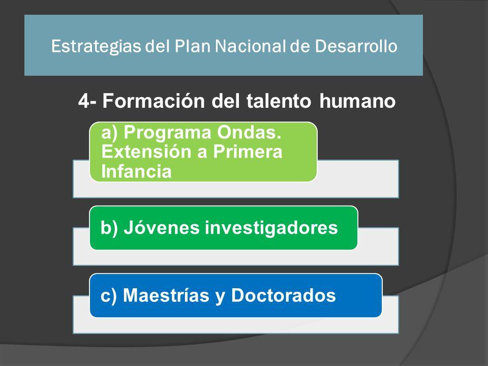 Estrategias del Plan Nacional de Desarrollo 4- Formación del talento humano a) Programa Ondas. Extensión a Primera Infancia b) Jóvenes investigadoresc