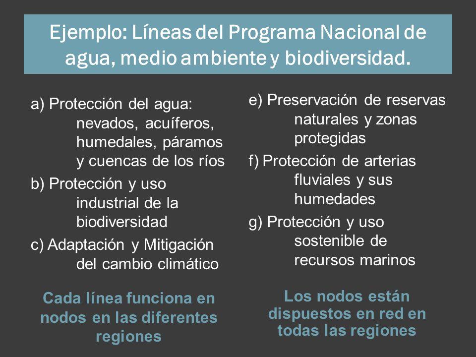 Ejemplo: Líneas del Programa Nacional de agua, medio ambiente y biodiversidad. Cada línea funciona en nodos en las diferentes regiones Los nodos están