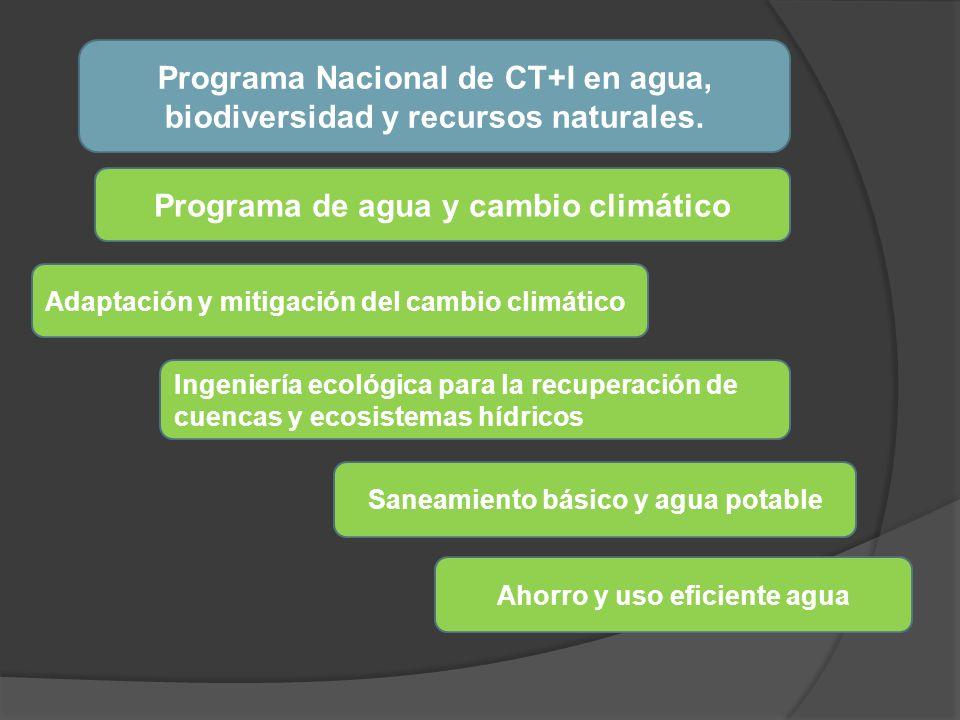 Programa Nacional de CT+I en agua, biodiversidad y recursos naturales. Programa de agua y cambio climático Adaptación y mitigación del cambio climátic