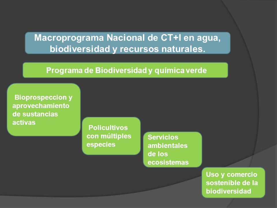 Macroprograma Nacional de CT+I en agua, biodiversidad y recursos naturales. Uso y comercio sostenible de la biodiversidad Policultivos con múltiples e