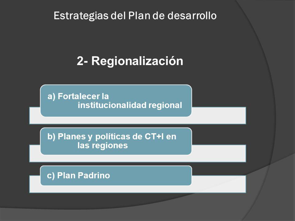 Estrategias del Plan de desarrollo 2- Regionalización a) Fortalecer la institucionalidad regional b) Planes y políticas de CT+I en las regiones c) Pla