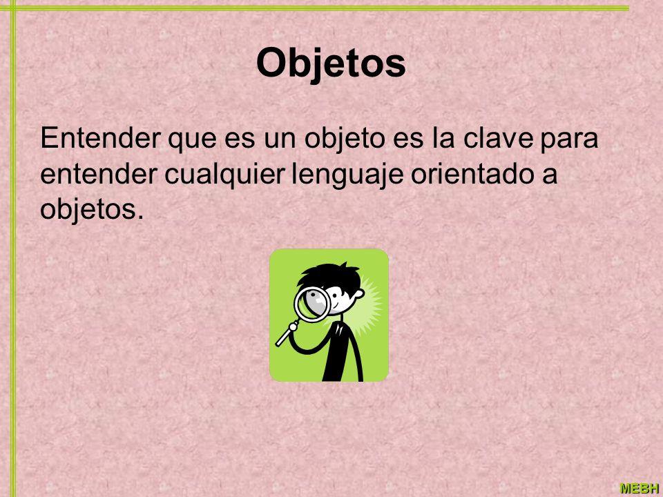 MEBH Objetos Entender que es un objeto es la clave para entender cualquier lenguaje orientado a objetos.