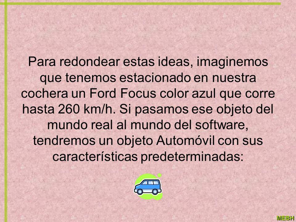MEBH Para redondear estas ideas, imaginemos que tenemos estacionado en nuestra cochera un Ford Focus color azul que corre hasta 260 km/h. Si pasamos e