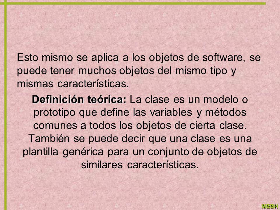 MEBH Esto mismo se aplica a los objetos de software, se puede tener muchos objetos del mismo tipo y mismas características. Definición teórica: Defini