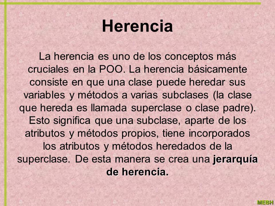 MEBH Herencia jerarquía de herencia. La herencia es uno de los conceptos más cruciales en la POO. La herencia básicamente consiste en que una clase pu