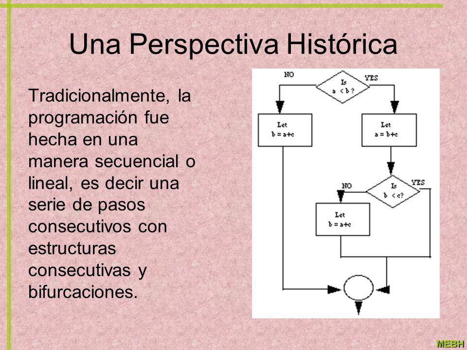 MEBH Una Perspectiva Histórica Tradicionalmente, la programación fue hecha en una manera secuencial o lineal, es decir una serie de pasos consecutivos