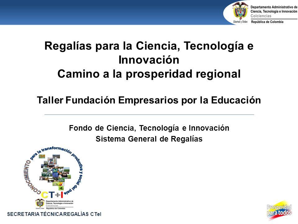 Regalías para la Ciencia, Tecnología e Innovación Camino a la prosperidad regional Taller Fundación Empresarios por la Educación Fondo de Ciencia, Tec