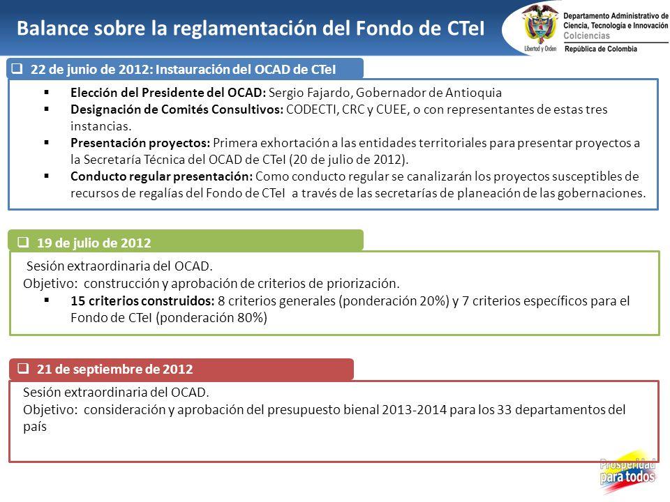 22 de junio de 2012: Instauración del OCAD de CTeI Elección del Presidente del OCAD: Sergio Fajardo, Gobernador de Antioquia Designación de Comités Co