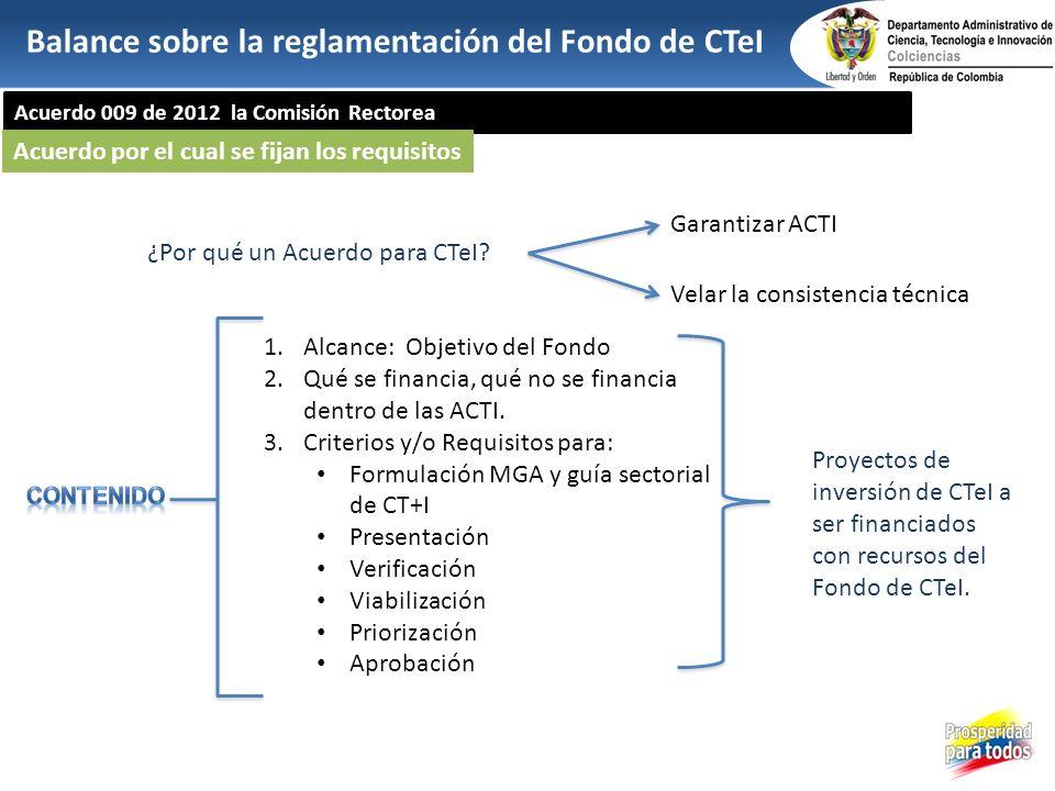 Acuerdo 009 de 2012 la Comisión Rectorea 1.Alcance: Objetivo del Fondo 2.Qué se financia, qué no se financia dentro de las ACTI. 3.Criterios y/o Requi