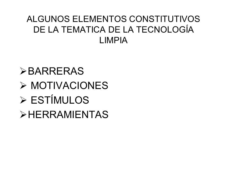ALGUNOS ELEMENTOS CONSTITUTIVOS DE LA TEMATICA DE LA TECNOLOGÍA LIMPIA BARRERAS MOTIVACIONES ESTÍMULOS HERRAMIENTAS