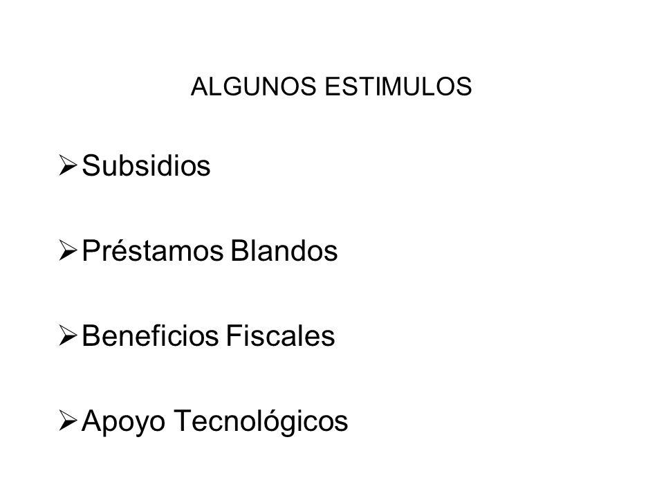 ALGUNOS ESTIMULOS Subsidios Préstamos Blandos Beneficios Fiscales Apoyo Tecnológicos