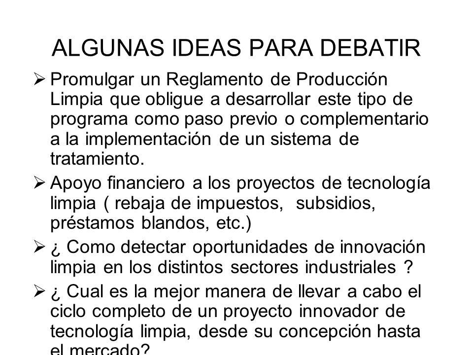 ALGUNAS IDEAS PARA DEBATIR Promulgar un Reglamento de Producción Limpia que obligue a desarrollar este tipo de programa como paso previo o complementa