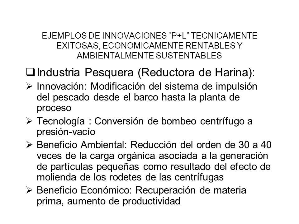 - EJEMPLOS DE INNOVACIONES P+L TECNICAMENTE EXITOSAS, ECONOMICAMENTE RENTABLES Y AMBIENTALMENTE SUSTENTABLES Industria Pesquera (Reductora de Harina):