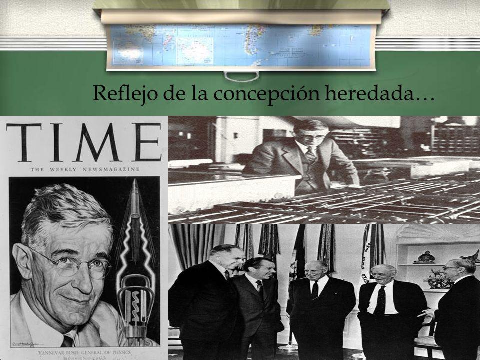 Vannevar Bush, reflejo de la concepción heredada… / Por encargo del Presidente Roosevelt, Vannevar Bush, un científico norteamericano que dirigió la Oficina de Investigación y Desarrollo, elaboró en 1945 un informe titulado: Ciencia.