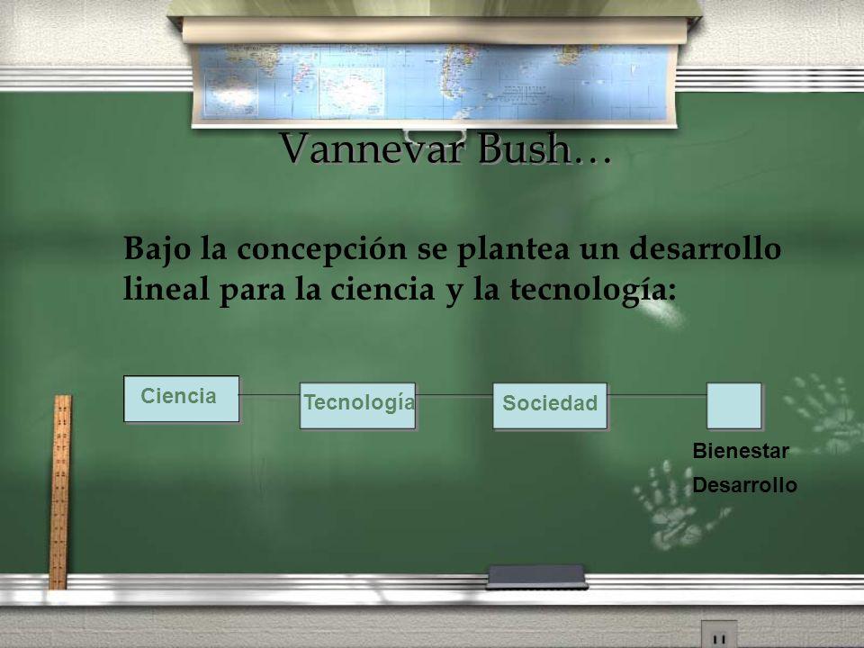 Vannevar Bush… Bajo la concepción se plantea un desarrollo lineal para la ciencia y la tecnología: Ciencia Tecnología Sociedad Bienestar Desarrollo