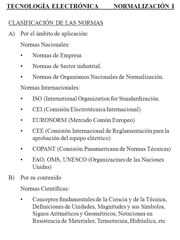 TECNOLOGÍA ELECTRÓNICA NORMALIZACIÓN I CLASIFICACIÓN DE LAS NORMAS A)Por el ámbito de aplicación: Normas Nacionales: Normas de Empresa Normas de Secto