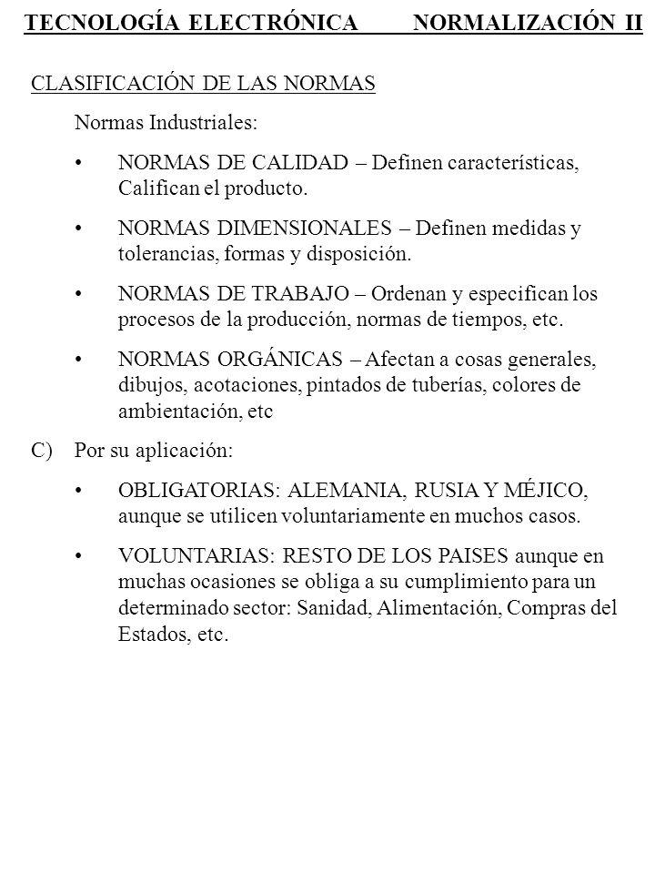 TECNOLOGÍA ELECTRÓNICA NORMALIZACIÓN II CLASIFICACIÓN DE LAS NORMAS Normas Industriales: NORMAS DE CALIDAD – Definen características, Califican el pro