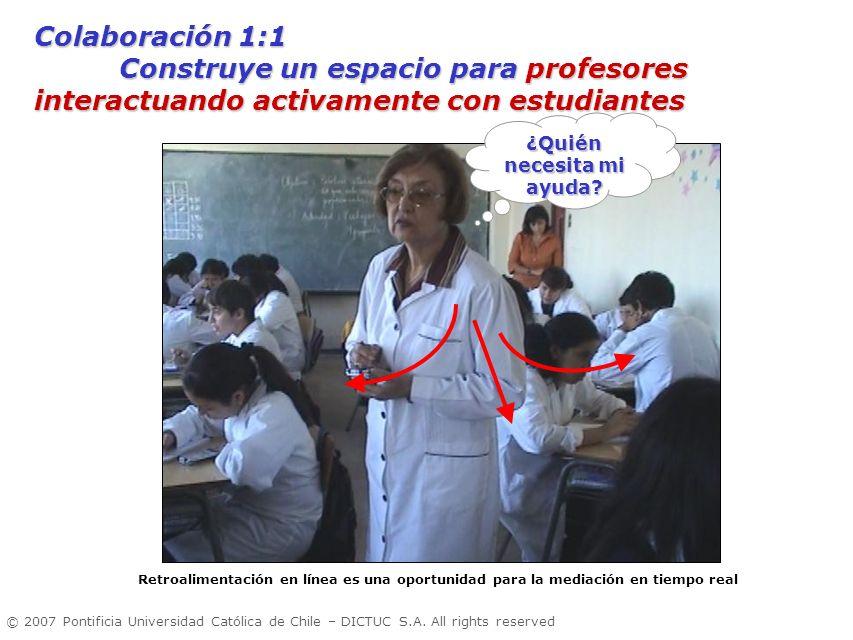 © 2007 Pontificia Universidad Católica de Chile – DICTUC S.A. All rights reserved ¿Quién necesita mi ayuda? Colaboración 1:1 Construye un espacio para