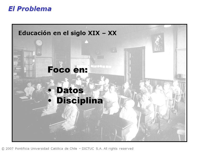 © 2007 Pontificia Universidad Católica de Chile – DICTUC S.A. All rights reserved El Problema El Problema Foco en: DatosDatos DisciplinaDisciplina Edu
