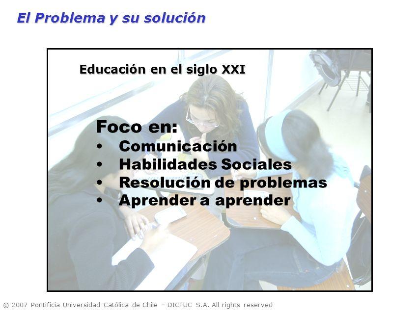 © 2007 Pontificia Universidad Católica de Chile – DICTUC S.A. All rights reserved El Problema y su solución Foco en: Comunicación Habilidades Sociales