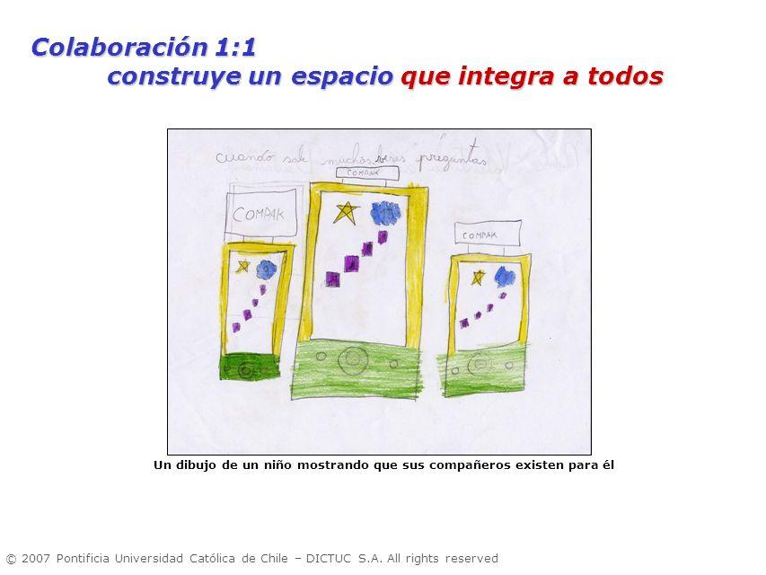 © 2007 Pontificia Universidad Católica de Chile – DICTUC S.A. All rights reserved Un dibujo de un niño mostrando que sus compañeros existen para él Co