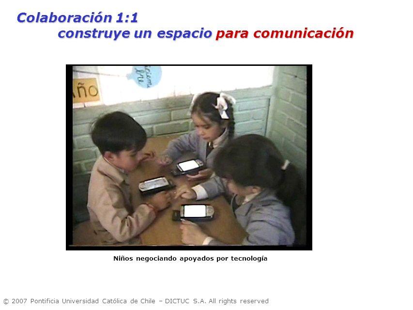 © 2007 Pontificia Universidad Católica de Chile – DICTUC S.A. All rights reserved Niños negociando apoyados por tecnología Colaboración 1:1 construye