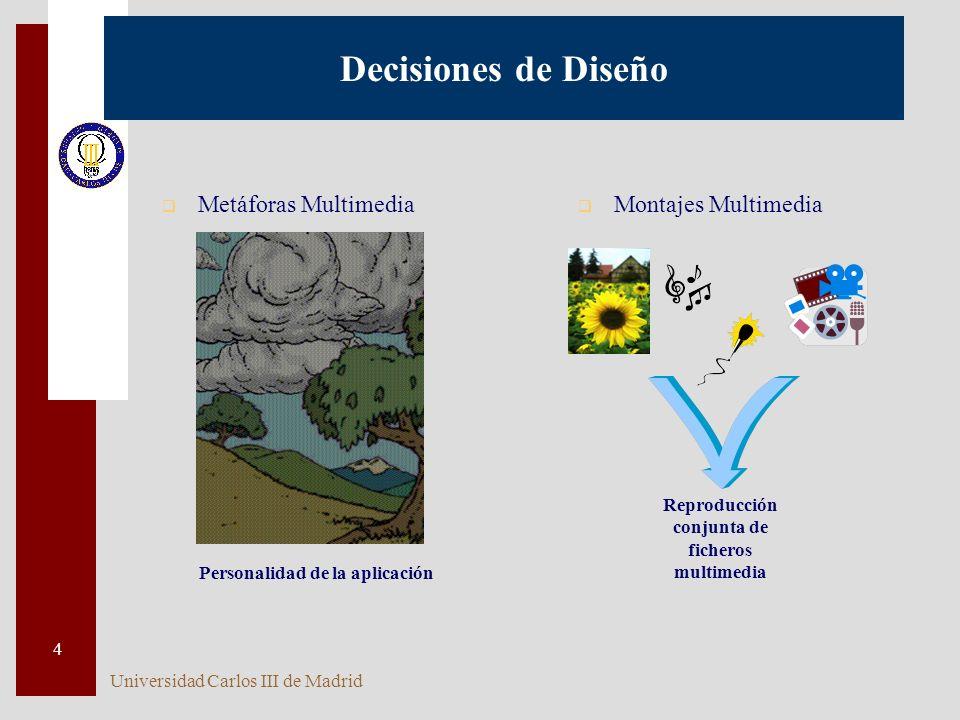 Universidad Carlos III de Madrid 4 Decisiones de Diseño q Metáforas Multimedia q Montajes Multimedia Reproducción conjunta de ficheros multimedia Personalidad de la aplicación