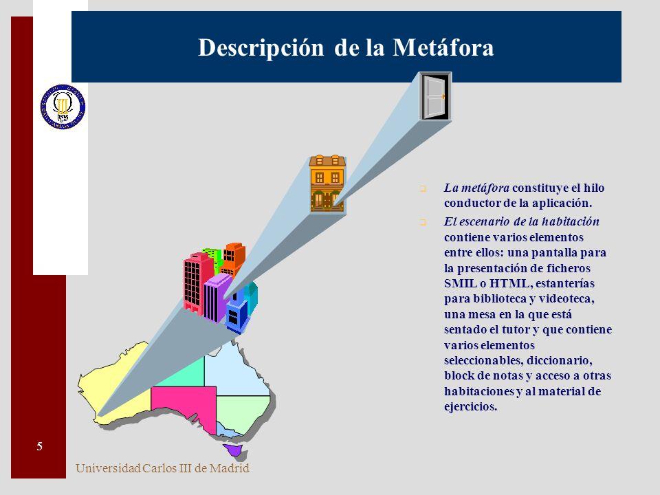 Universidad Carlos III de Madrid 5 q La metáfora constituye el hilo conductor de la aplicación. q El escenario de la habitación contiene varios elemen