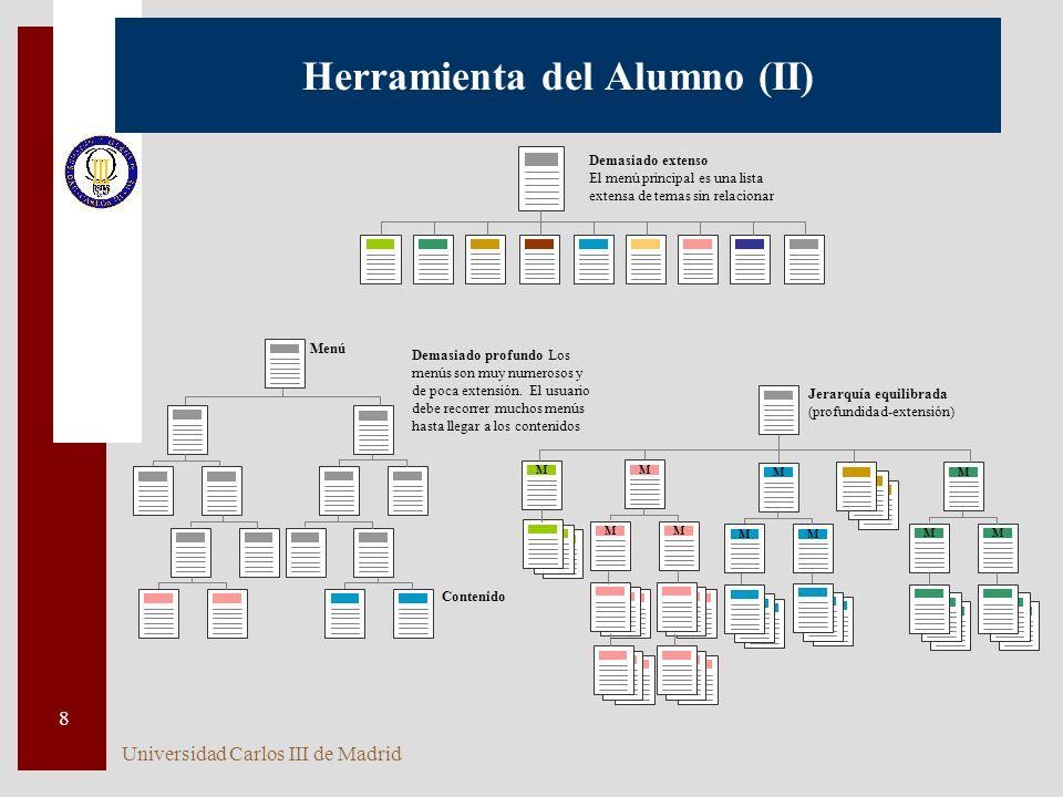 Universidad Carlos III de Madrid 8 Herramienta del Alumno (II) Demasiado extenso El menú principal es una lista extensa de temas sin relacionar Menú Contenido Demasiado profundo Los menús son muy numerosos y de poca extensión.