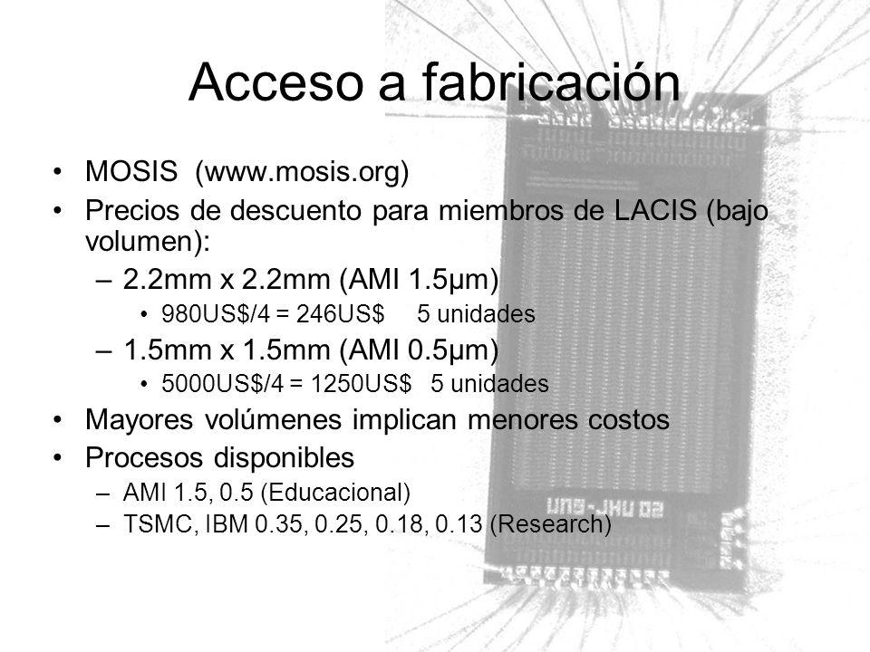 MOSIS (www.mosis.org) Precios de descuento para miembros de LACIS (bajo volumen): –2.2mm x 2.2mm (AMI 1.5µm) 980US$/4 = 246US$ 5 unidades –1.5mm x 1.5