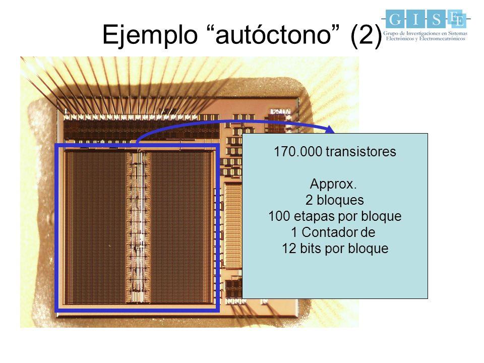 Ejemplo autóctono (2) 170.000 transistores Approx. 2 bloques 100 etapas por bloque 1 Contador de 12 bits por bloque