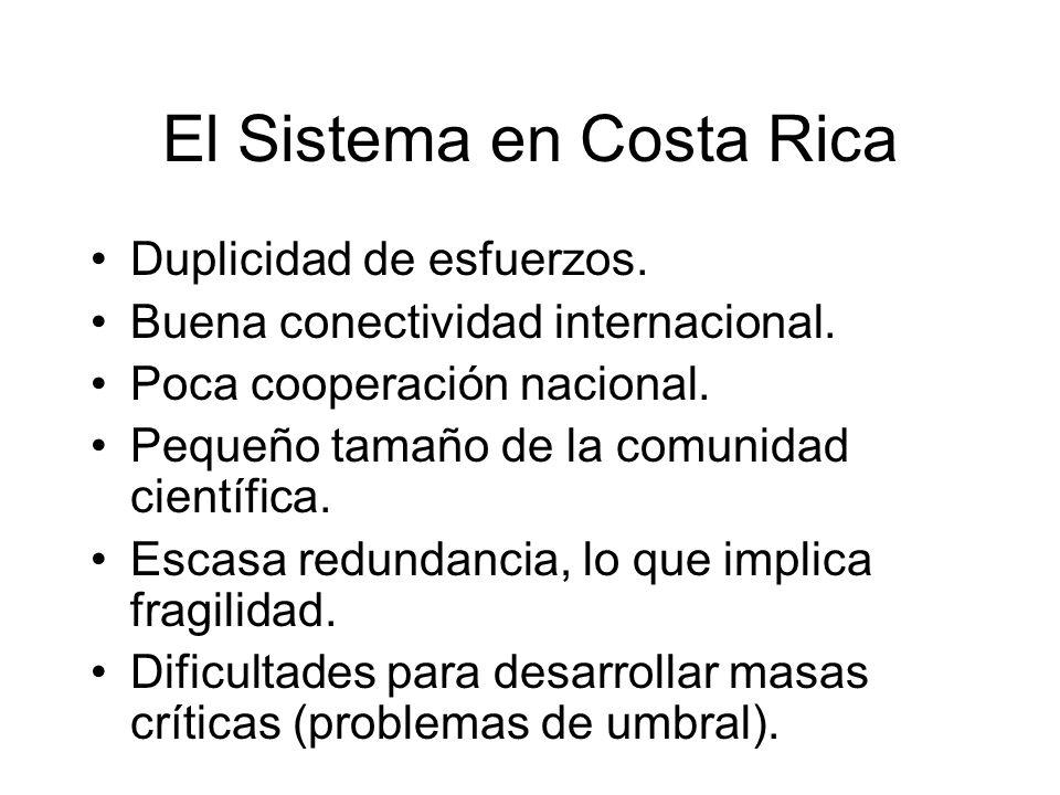 El Sistema en Costa Rica Duplicidad de esfuerzos. Buena conectividad internacional. Poca cooperación nacional. Pequeño tamaño de la comunidad científi