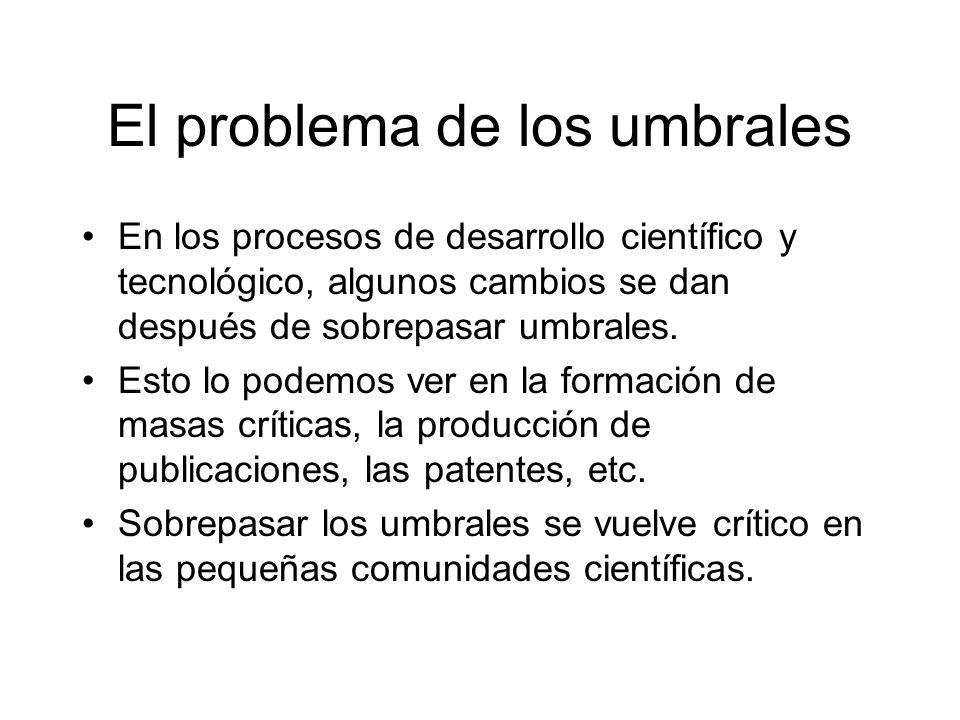 El problema de los umbrales En los procesos de desarrollo científico y tecnológico, algunos cambios se dan después de sobrepasar umbrales.