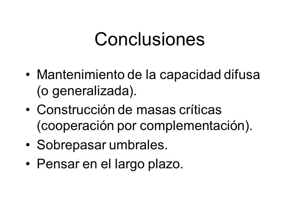 Conclusiones Mantenimiento de la capacidad difusa (o generalizada). Construcción de masas críticas (cooperación por complementación). Sobrepasar umbra