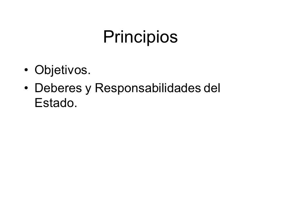 Principios Objetivos. Deberes y Responsabilidades del Estado.