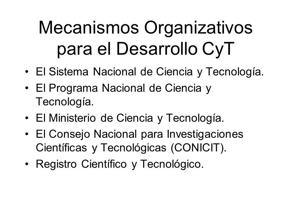 Mecanismos Organizativos para el Desarrollo CyT El Sistema Nacional de Ciencia y Tecnología. El Programa Nacional de Ciencia y Tecnología. El Minister