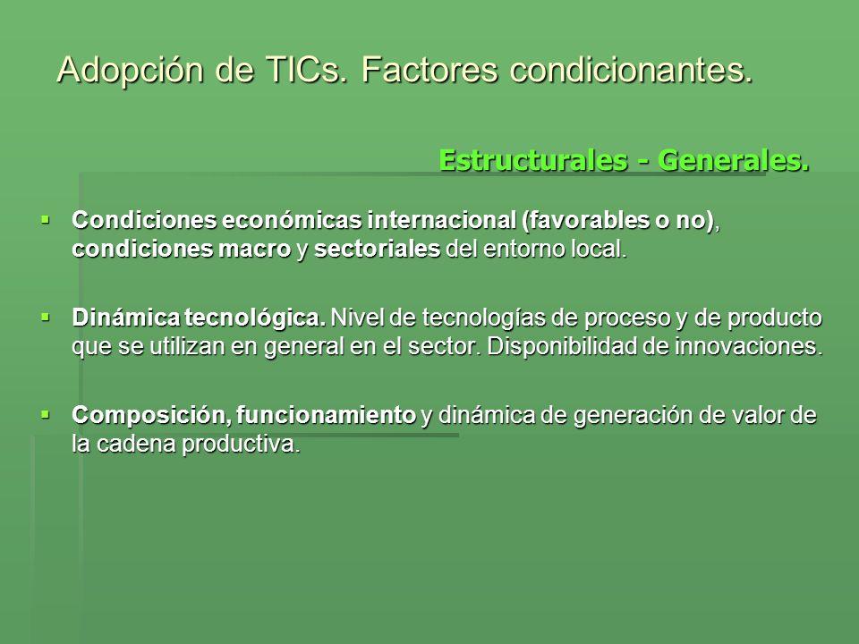 Condiciones económicas internacional (favorables o no), condiciones macro y sectoriales del entorno local. Condiciones económicas internacional (favor